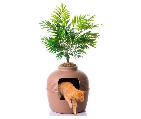 Hidden cat litter box furniture