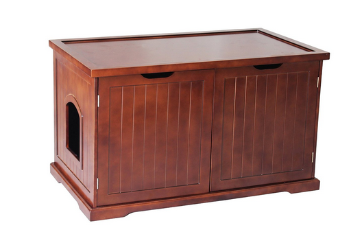 Wooden cat litter enclosure
